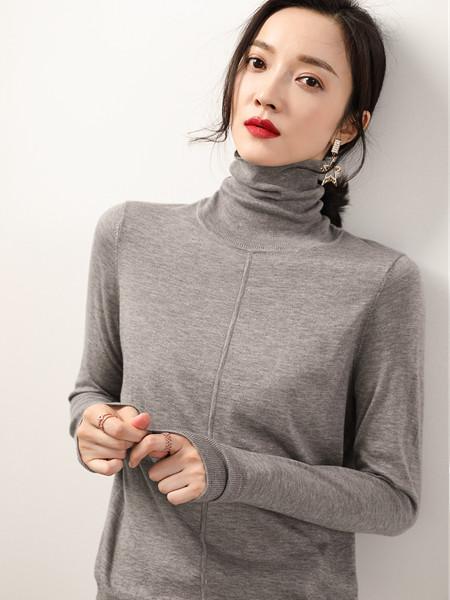 MODEERN女装品牌2020秋冬清新灰色高领毛衣