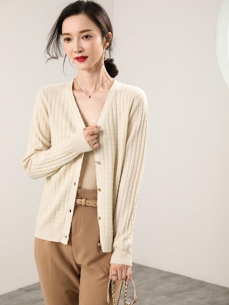 MODEERN女装品牌2020秋冬米色条纹薄外套