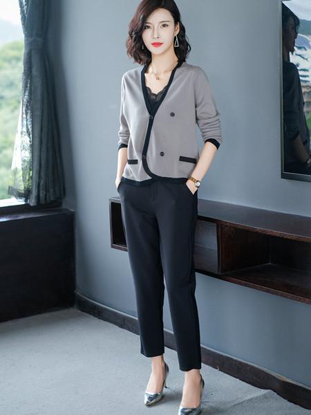 MODEERN女装品牌2020秋冬百搭灰色长袖外套