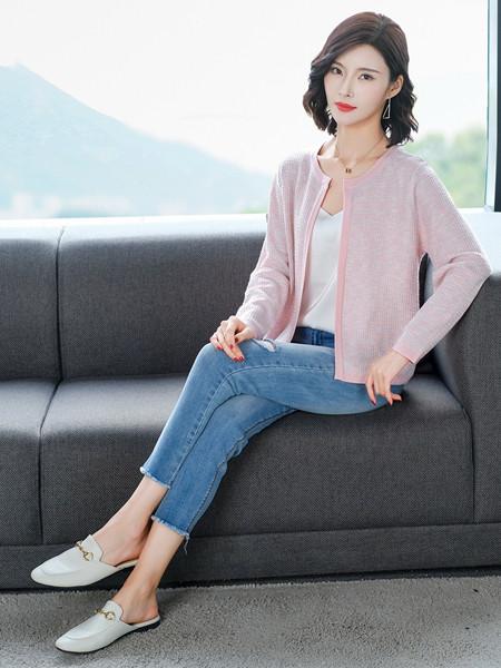 MODEERN女装品牌2020秋冬粉色针织薄外套