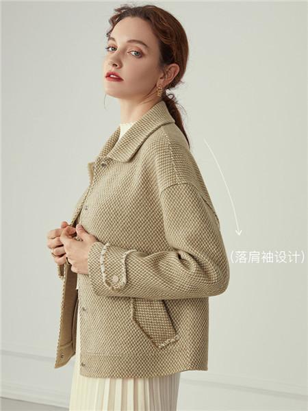 蓝恩女装品牌2020秋冬毛呢纯色外套