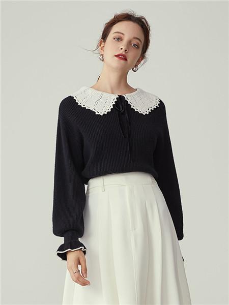 蓝恩女装品牌2020秋冬潮流黑色长袖上衣