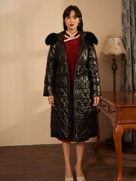 固执女装品牌2020秋冬黑色加绒长款羽绒外套