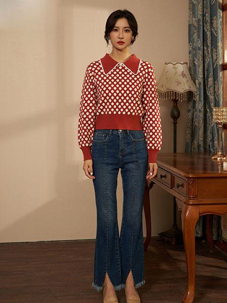 固执女装品牌2020秋冬波点红色长袖上衣