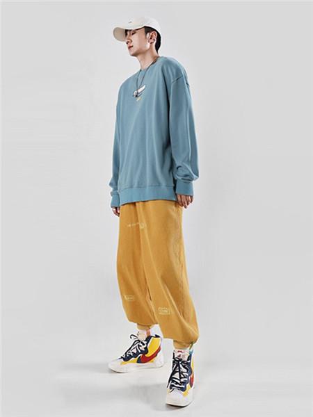 不计后果休闲品牌2020秋冬极简蓝色针织衫