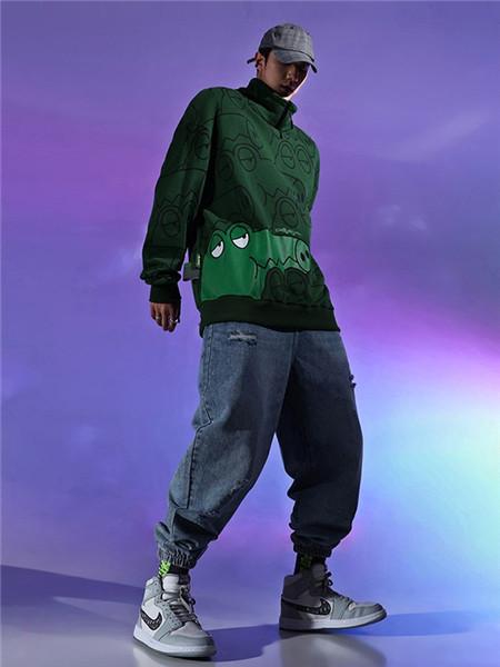 不计后果休闲品牌2020秋冬深绿色卡通长袖上衣