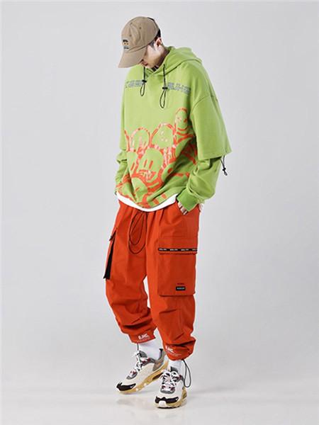 不计后果休闲品牌2020秋冬带帽绿色抽象卫衣