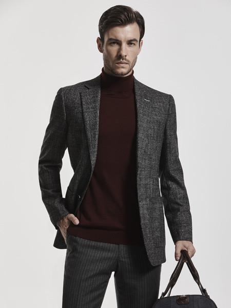 庄吉Judger男装品牌2020秋冬棉麻灰色长袖外套
