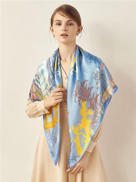 宝石蝶丝巾品牌2020秋冬蓝色夏威夷风情丝巾