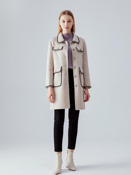 凡恩女装品牌2020秋冬白色潮流长款外套