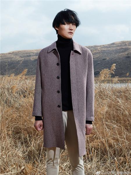 AIVIDICSTUDIO男装品牌2020秋冬紫色加绒长款外套