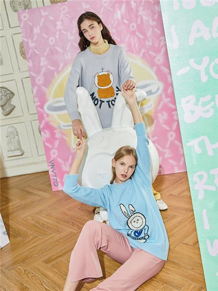 OZLANA女装品牌2020秋冬卡通圆领长袖上衣