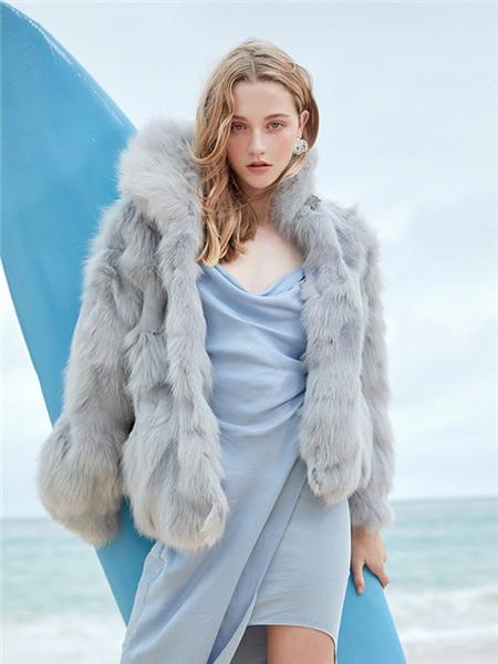 OZLANA女装品牌2020秋冬毛呢灰色长袖外套