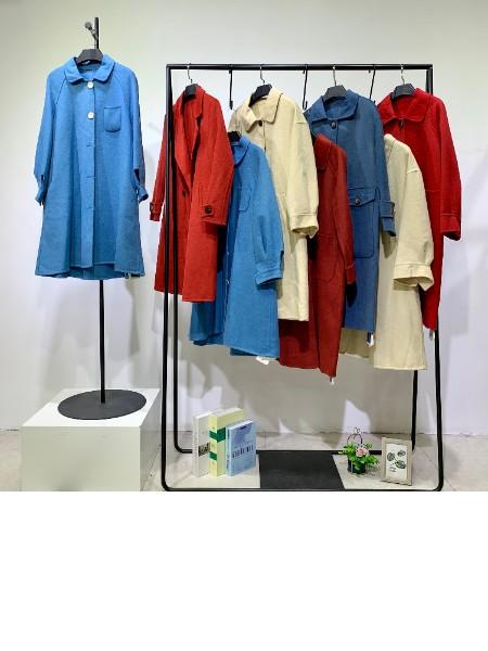 广州华景国际品牌折扣女装千鸟格洋气羊绒大衣 走份女装货源