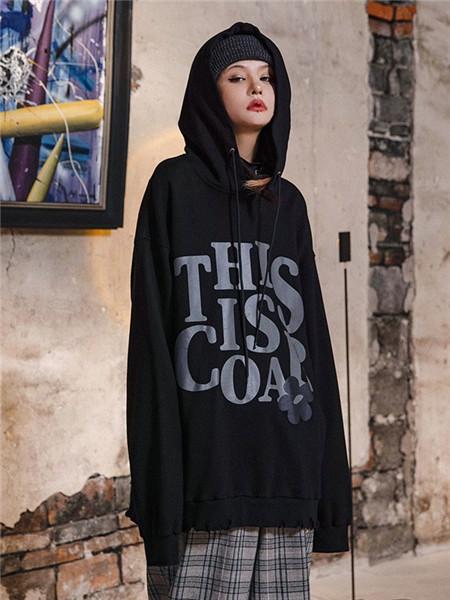 柯达芮特女装品牌2020秋冬字母黑色个性卫衣