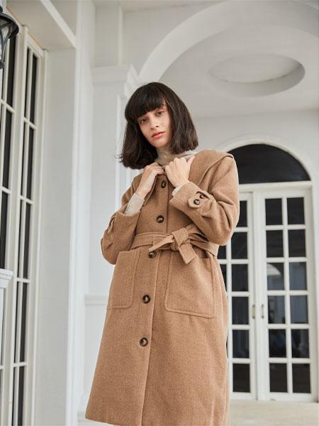 曈行女装品牌2020秋冬棕色束腰长袖毛呢外套