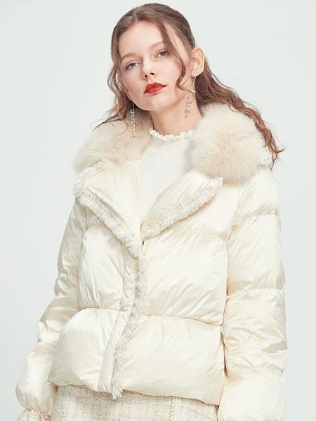 芊伊朵女装品牌彩38平台2020秋白色时尚羽绒服