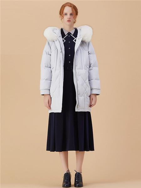 欧陆天使EURO ANGEL女装品牌2020秋冬白色保暖羽绒服