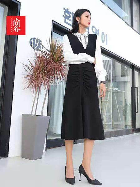 尚谷休闲品牌2020秋冬无袖黑色连衣裙