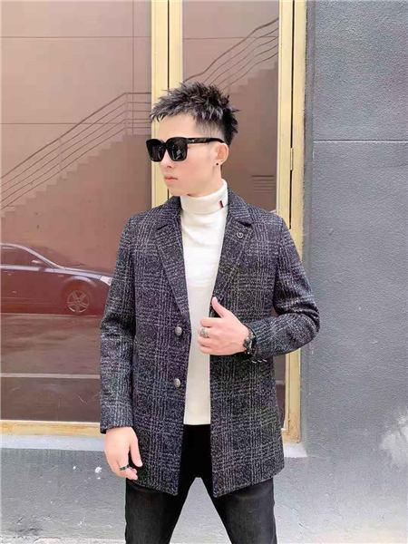 萨卡罗S.ALCAR男装品牌2020秋冬灰色格子时尚外套