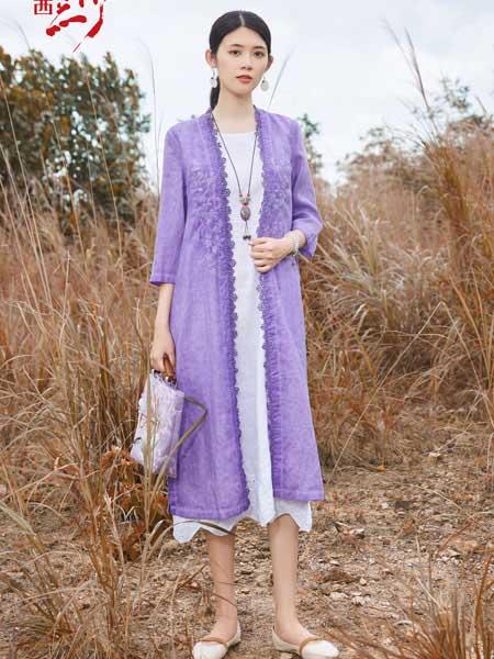 曼茜纱女装品牌2020秋冬花边紫色长款外套