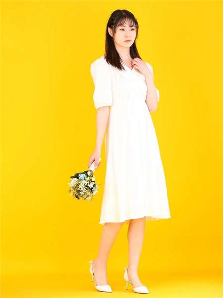 my&juvenilia女装品牌2021春夏白色小清新连衣裙