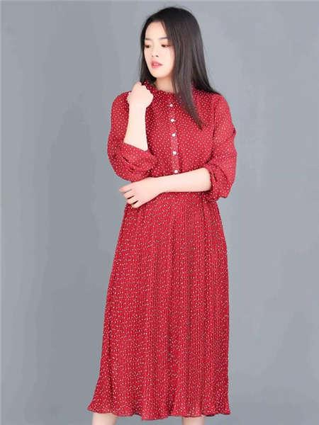 my&juvenilia女装品牌2021春夏红色小碎花衬衫裙