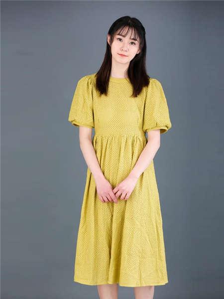 my&juvenilia女装品牌2021春夏棉麻纯色百搭裙