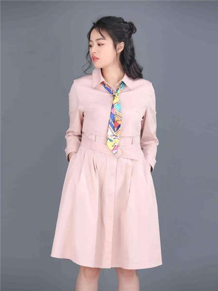 my&juvenilia女装品牌2021春夏撞色领带粉色开衫连衣裙