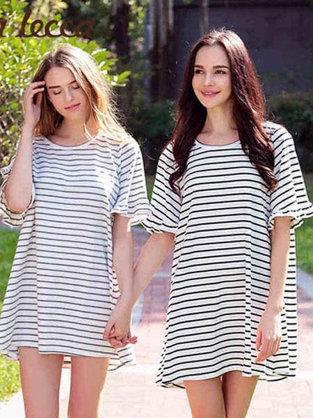 拉可莉卡内衣品牌2021春夏条纹短袖连衣裙