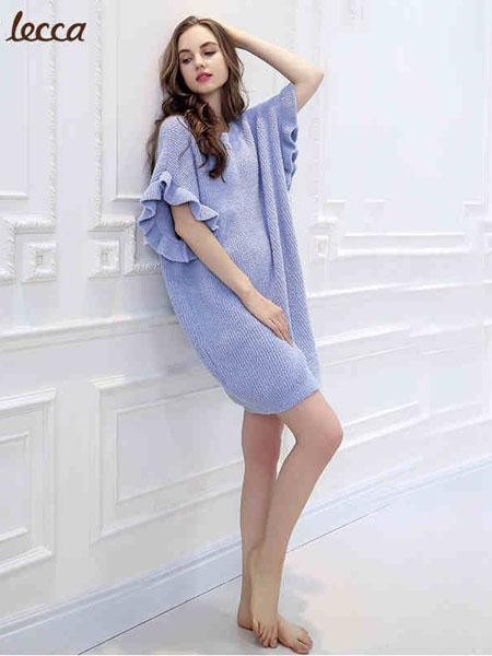 拉可莉卡内衣品牌2021春夏浅紫色喇叭袖睡裙
