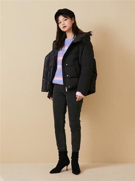 E·LAND女装品牌2020秋冬潮流黑色保暖外套