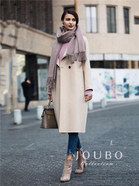 玖帛JOUBO女装品牌2020秋冬纯色简约长款毛呢大衣
