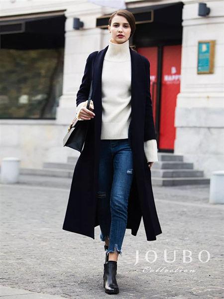 玖帛JOUBO女装品牌2020秋冬黑色潮流开叉长款呢子大衣
