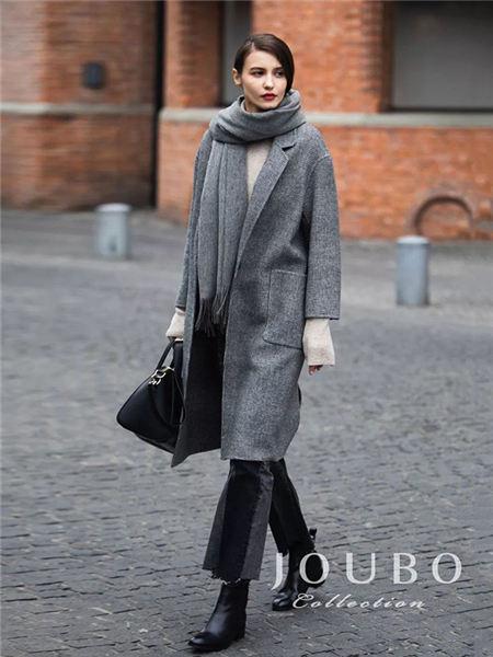 玖帛JOUBO女装品牌2020秋冬深灰色加厚保暖大衣