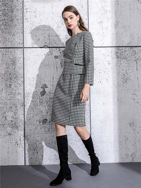 ELINKéSY女装品牌2020秋冬经典千鸟格收腰连衣裙