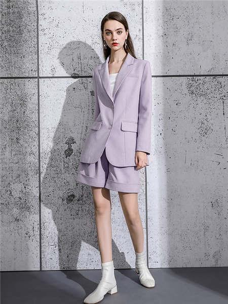 ELINKéSY女装品牌2020秋冬浅紫色文艺范淑女职场装
