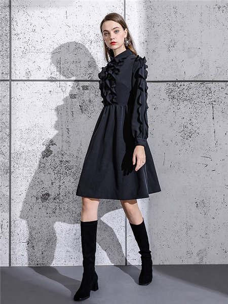 ELINKéSY女装品牌2020秋冬立领荷叶边潮流连衣裙