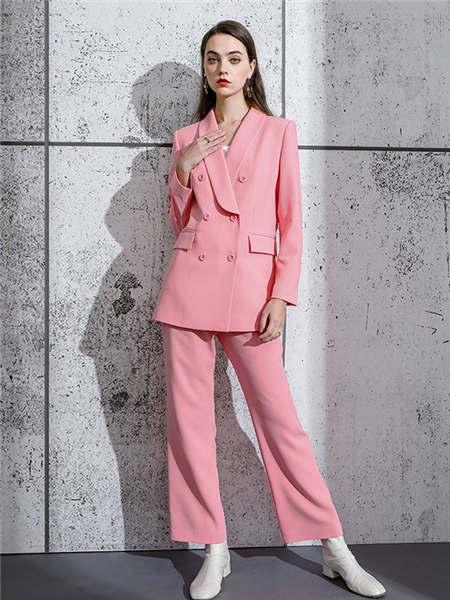 ELINKéSY女装品牌2020秋冬粉色OL风快时尚西装套装
