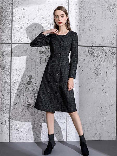 ELINKéSY女装品牌2020秋冬深色格纹修身收腰毛呢连衣裙