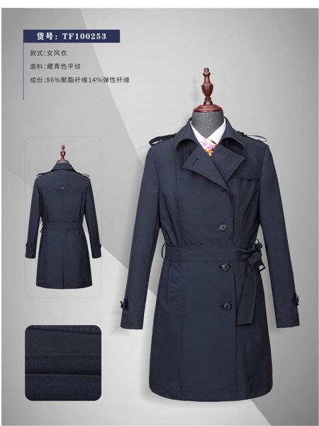统领服装定制品牌修身束腰休闲长款女士风衣