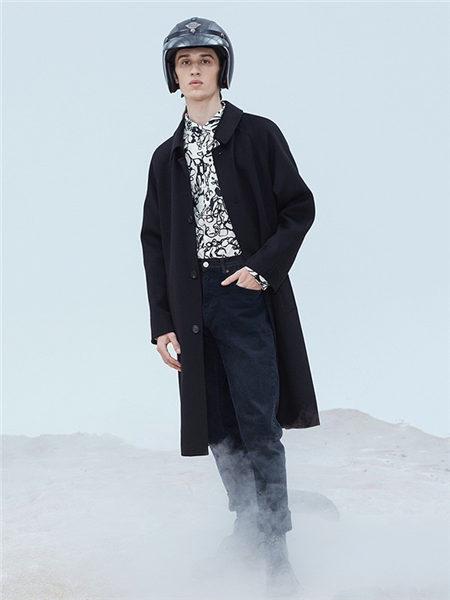 DULILOAD多尼路男装品牌2020秋冬黑色INS风立领长款毛呢大衣