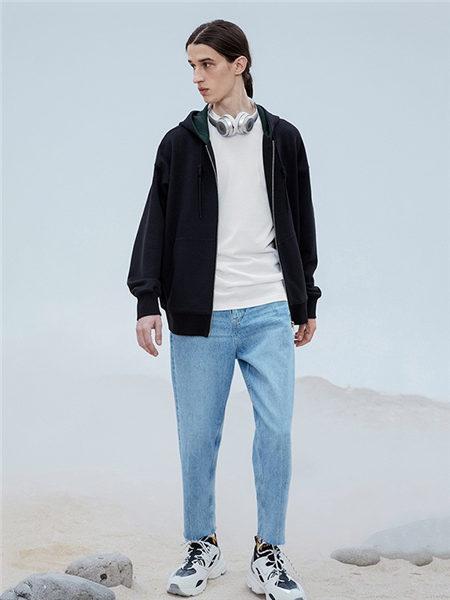DULILOAD多尼路男装品牌2020秋冬黑色百搭拉链卫衣外套