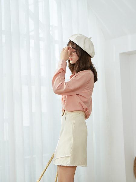 描刻(miaoke)女装品牌2020秋冬粉色甜美淑女纯棉上衣