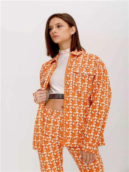 狩妖女装品牌2021春夏特色个性印花潮流小西装外套