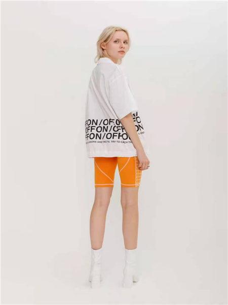 狩妖女装品牌2021春夏橘色青春运动休闲短裤