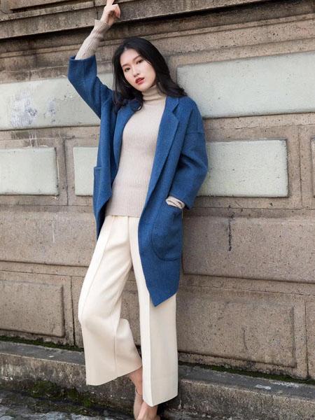 君羊迪奥女装品牌2020秋冬蓝色快时尚束腰双面呢大衣