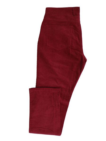 善世亨力女装品牌2021春夏红色灯芯绒九分裤