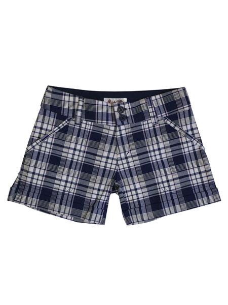 善世亨力女装品牌2021春夏蓝色格纹双扣短裤