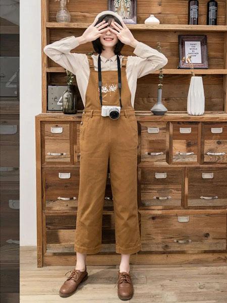 云上写生女装品牌2021春夏卡其色修身吊带裤